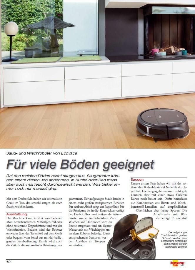 saug und wischroboter von ecovacs im h rtetest ab sofort in der neuen heimwerker praxis. Black Bedroom Furniture Sets. Home Design Ideas