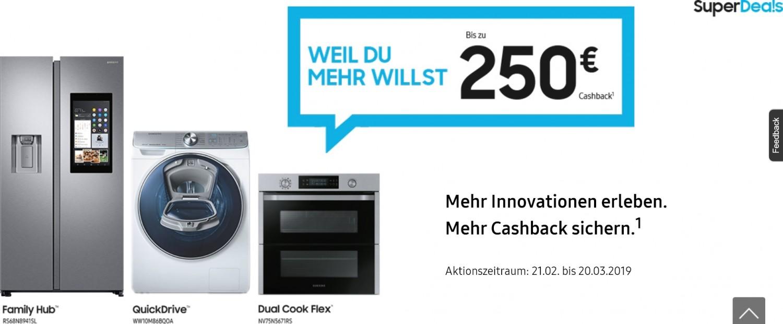 Haushaltsgeräte Kühlen, Waschen, Kochen, Saugen und Spülen: Cashback-Aktion bei Samsung bis zum 20. März - News, Bild 1