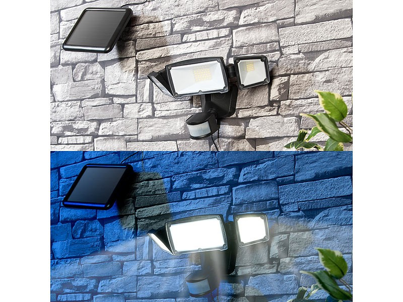 test beleuchtung luminea 3 fach solar led fluter. Black Bedroom Furniture Sets. Home Design Ideas